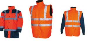 Parka + veste amovible + manches longues amovibles (4*1) orange/bleu