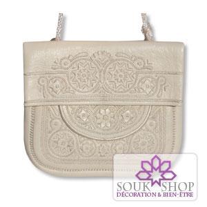 sac à main brodé en cuir blanc